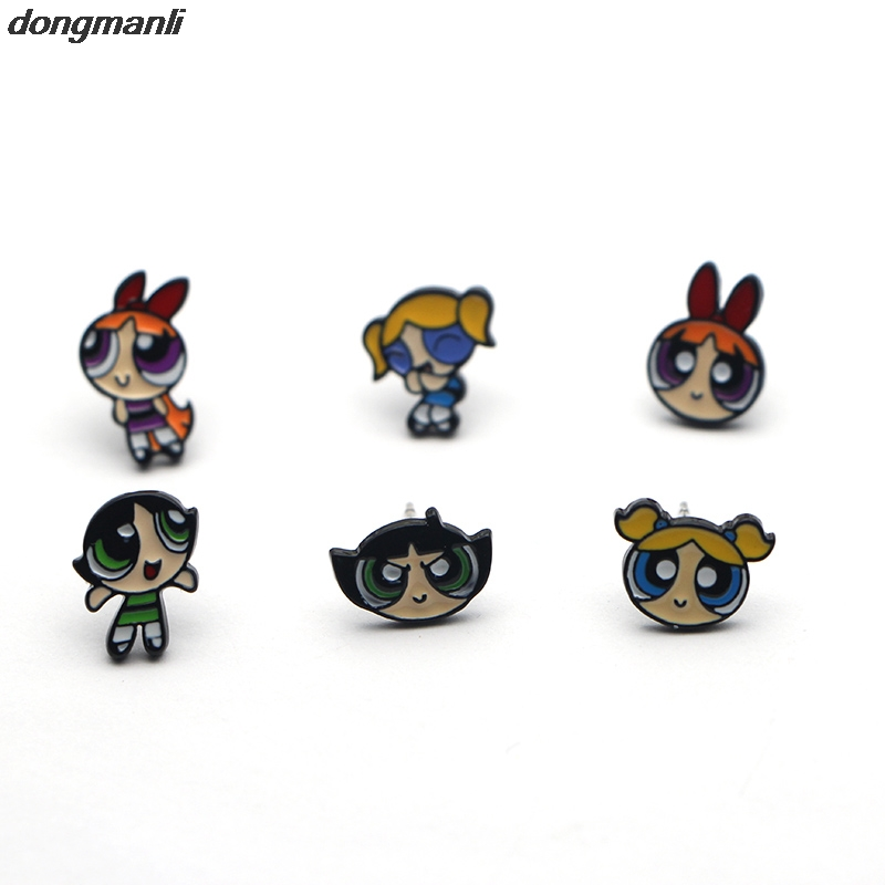 MS1053 DMLSKY Powerpuff Girls Earings Kvinnor mode stud örhängen Charm Cartoon örhängen Lovely Gifts för barn