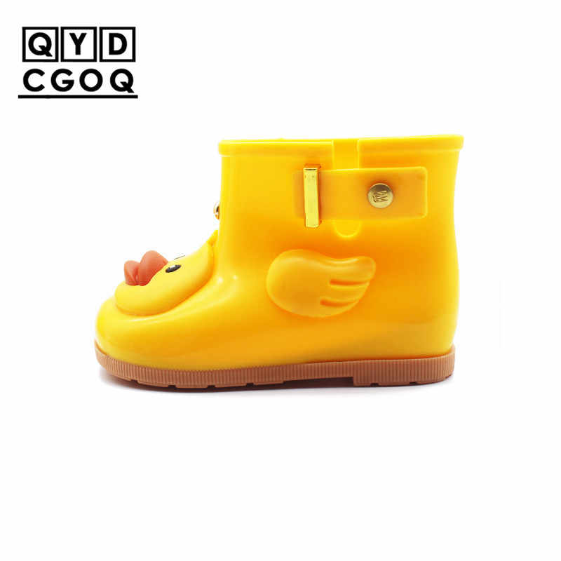Mini Melissa Style Cute Duck Girl Rain Boots 2018 Girls Water Shoes Baby Boots  Shoes Waterproof f1b5c2ea7db2