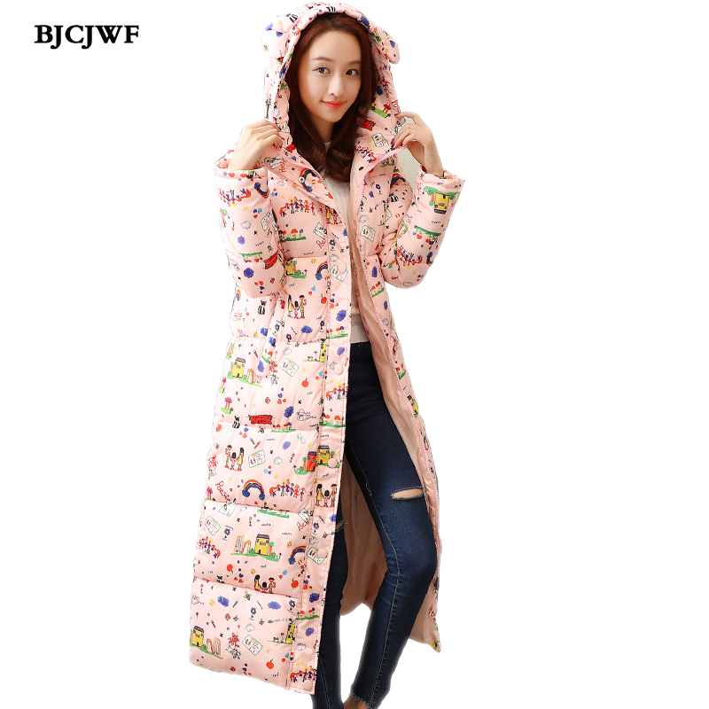 BJCJWF Fashionable Coat Winter Women   Parka   2018 Hight Quality Casual Thick Warm Jacket Female Long printing Hooded   Parka   Hot