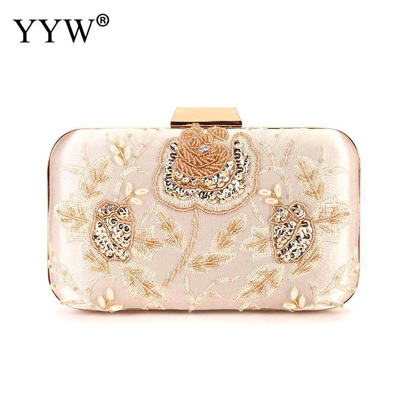 YYW Womens Small Flower Embroidered Pu Clutch Purse  Evening Party Bags Fashion Handbag Female 2019 Wedding