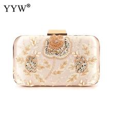 YYW Womens Small Flower Embroidered Pu Clutch Purse  Evening Party Bags Fashion Handbag Female 2019 Wedding