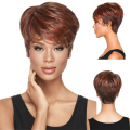 Natural Cheap Fake Hair Heat Resistant Synthetic Short Wigs for Black Women Pixie Cut Wig for African American Women
