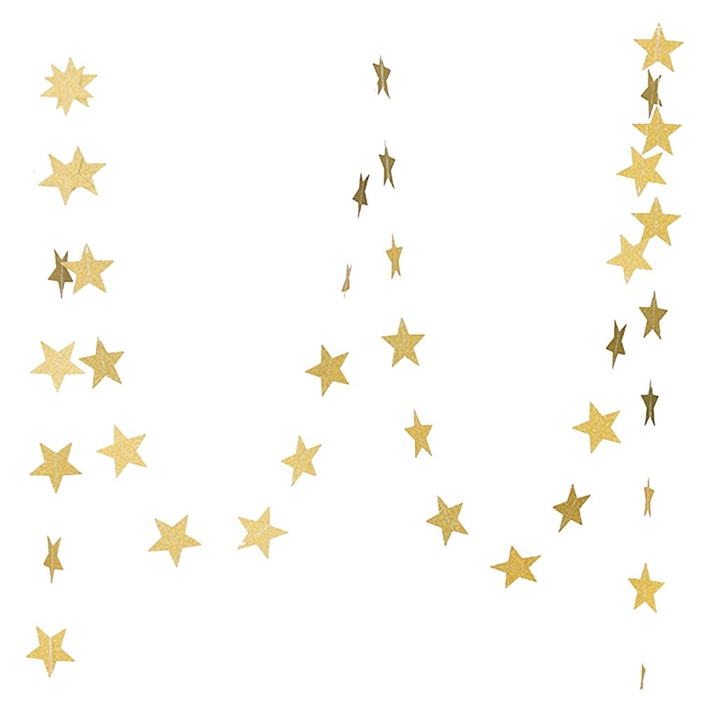 Gold Star Garland Golden Christmas Galaxy Banner Twinkle ...