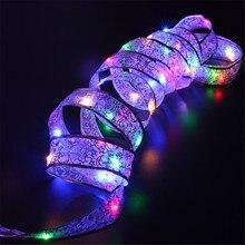 YIYANG 4M 40 נוריות LED חג המולד חג אור AA סוללה תחרה קשת סרט מחרוזת אורות בית מסיבת גן קישוט מנורת Cinta