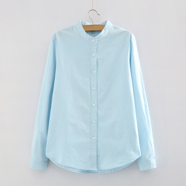 Women Autumn Fashion Casual White Shirts Long Sleeve Stand Collar Cotton Female Blusa Women Tops Blouse