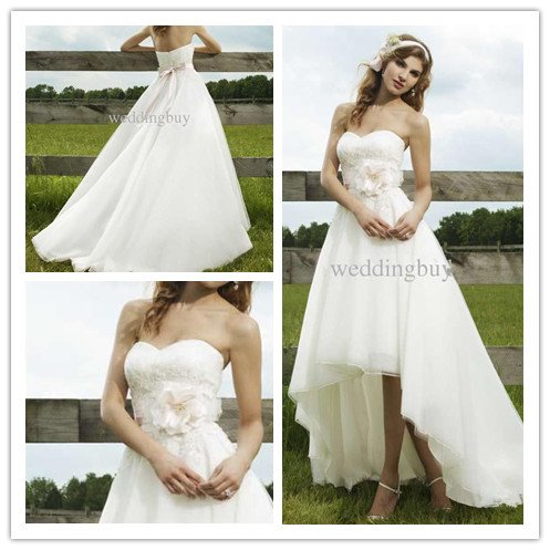 Elegant Strapless Lace Accented Chiffon Front Short And Long Back