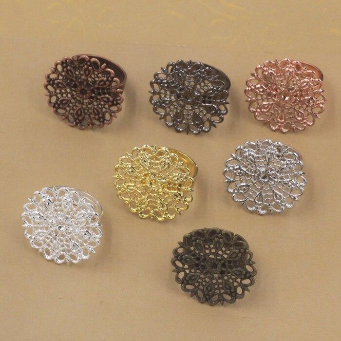 24x24mm Silver Bronze Diamond Necklace Pendants Cabochon Trays Bases Blanks DIY