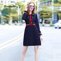 Seamyla High Quality Designer Runway Dresses Women Long Sleeve Patchwork Ruffles Celebrity Party Dress New Fashion Autumn Dress