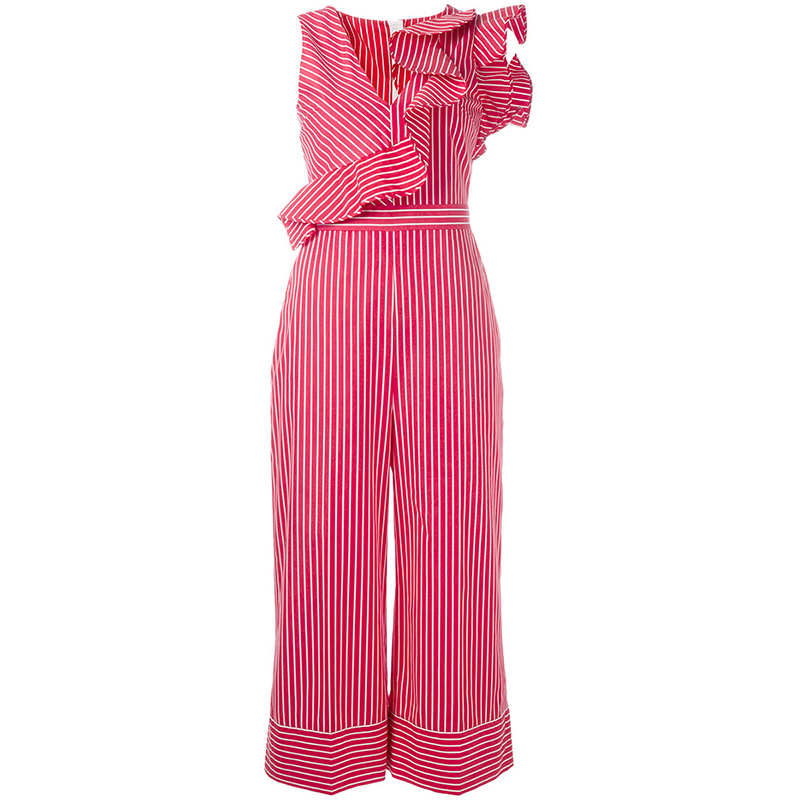 Summer Women Ruffle Sleeveless Jumpsuits One Piece Romper Playsuit Red Striped Elegant O ...