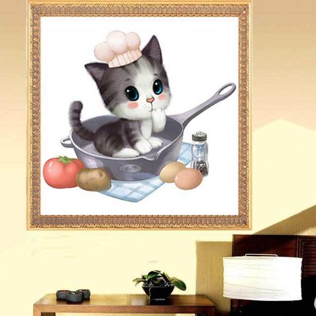 Animal 5D DIY Home Decoration Magic Cube Round Diamond Full Embroidery Cute Cat Painting Cross Stitch Kits