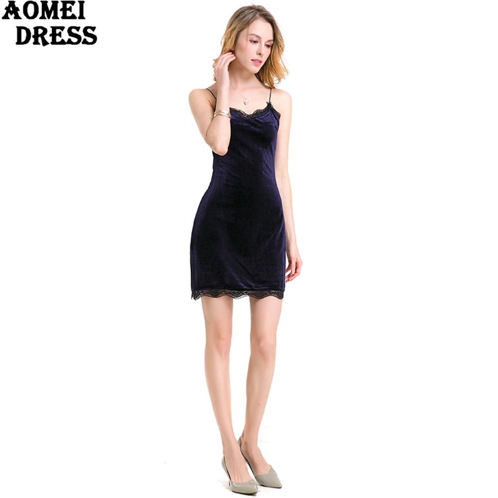 HTB1mci6PpXXXXcmXXXXq6xXFXXXa - FREE SHIPPING Women New Sexy Velour Dress With Lace Sphagetti Robes JKP259