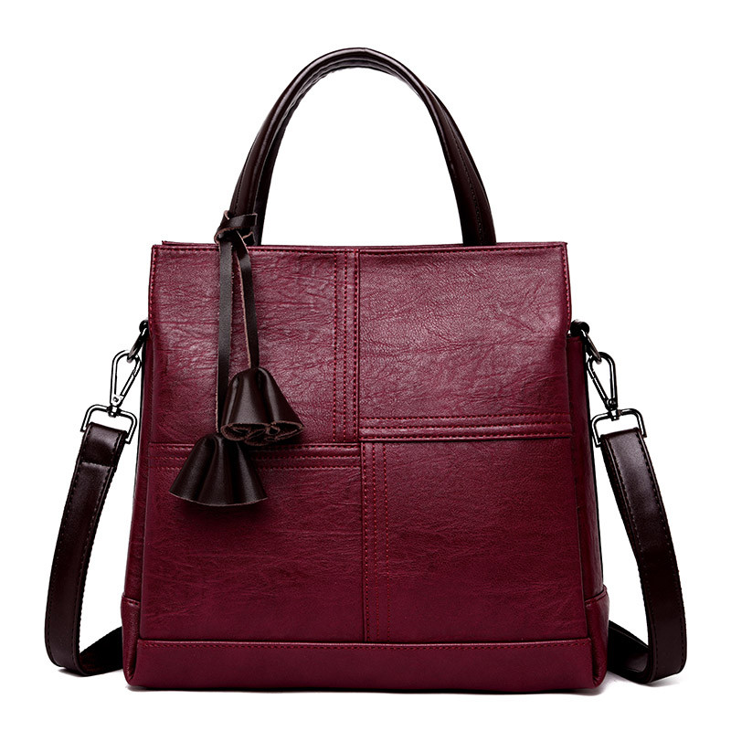Three pockets Vintage <font><b>Women</b></font> <font><b>Bag</b></font> Ladies Brand Leather Handbags Winter Casual Tote <font><b>Bag</b></font> <font><b>Big</b></font> <font><b>Shoulder</b></font> <font><b>Bags</b></font> <font><b>For</b></font> <font><b>Women</b></font> <font><b>2018</b></font> Sac A Main image