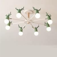 Nordic macaron antler chandelier simple post modern LED chandeliers bedroom dining room iron and wood deer head ceiling lamp E27