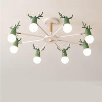 Nordic macaron geweih kronleuchter einfache post moderne LED kronleuchter schlafzimmer esszimmer eisen und holz deer kopf decke lampe E27-in Kronleuchter aus Licht & Beleuchtung bei