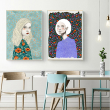 AAHH Illustration Posters Woman Quadro Canvas Painting Print on Nordic Art Picture for Living Room Home Decor No Frame