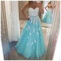 Sweetheart cuentas de encaje apliques de perlas caliente a line vestidos de noche largo vestidos formales vestido de festa