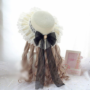 Image 4 - Sweet Lolita Straw Sunhat Mori Girl Caps with Lace & Bowknot Beach Summer Hat