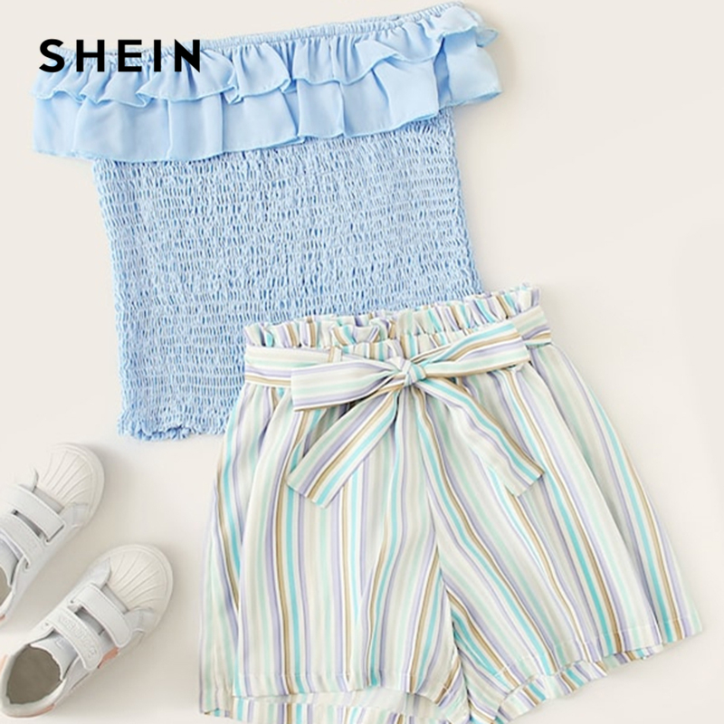 SHEIN Kiddie Off The Shoulder Ruffle Trim Shirred Top And Striped Shorts With Belt Sets 2019 Summer Holiday Boho Beach Suit Sets plus knot open back ruffle trim bodysuit
