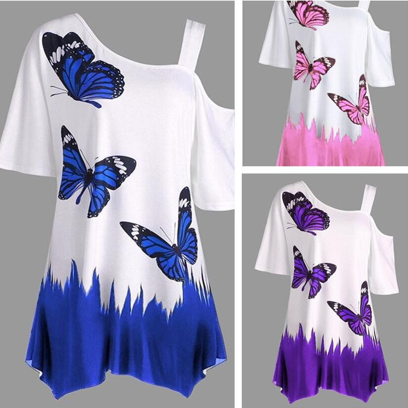 Fashion Women T-shirts Off Shoulder Butterfly Printed Sexy Shirt Short Sleeve Plus Size Women Clothes Irregular Summer 2018 Tops