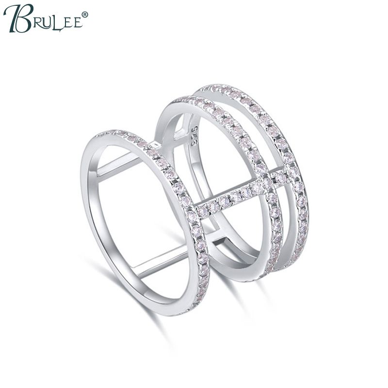 2016 New Fashion S925 sterling silver rings for women Micro mosaic Zircon From SWAROVSKI Single row zircon jewelry wholesale