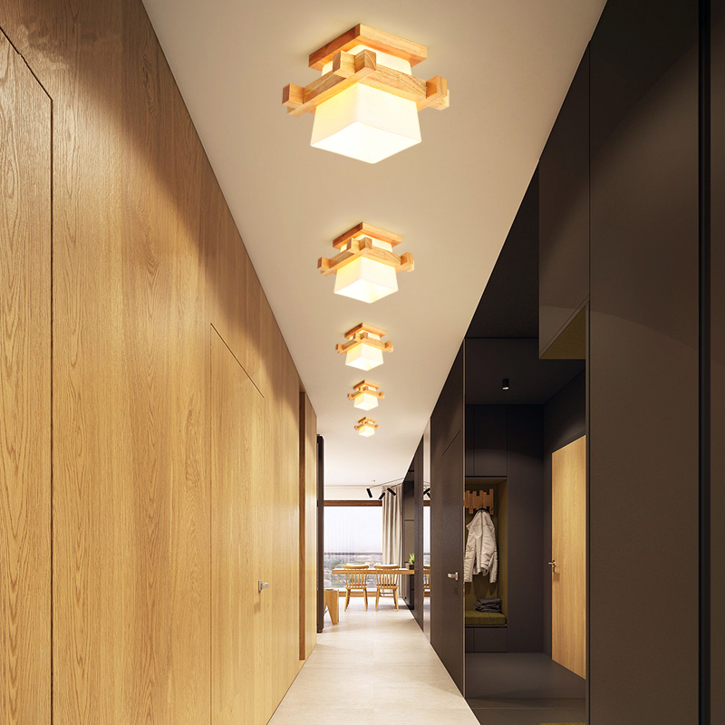 Image 5 - Artpad Tatami Japanese Ceiling Light for Home Lighting Glass Lampshade E27 LED Ceiling Lamp Wood Base Hallways Porch Fixtures-in Ceiling Lights from Lights & Lighting