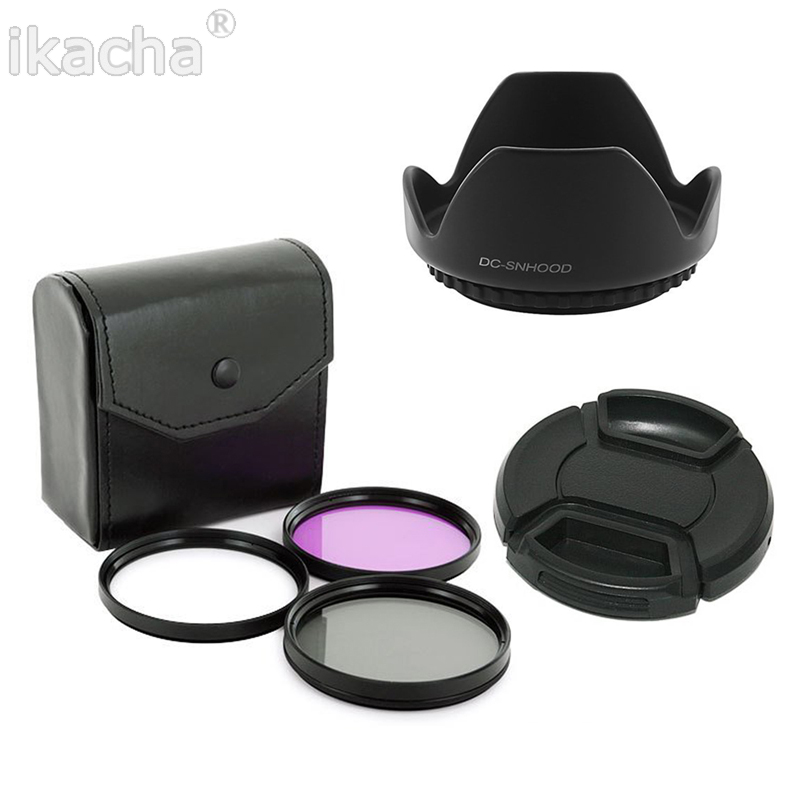 55mm UV CPL FLD Filter Set + Petal Flower <font><b>Lens</b></font> Hood + Front <font><b>Lens</b></font> Cap Cover for <font><b>Sony</b></font> Alpha A200 A300 A350 <font><b>A230</b></font> A330 A580 image