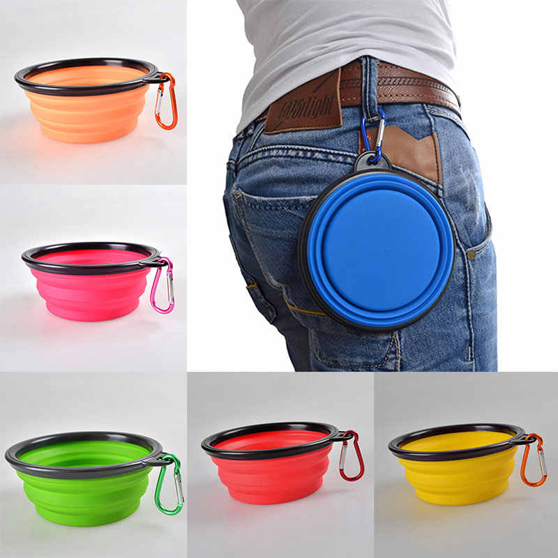 Pecute Travel Folding Silicone Pet Cat Feeding Water Food Bowl Cup with Carabiner Portable