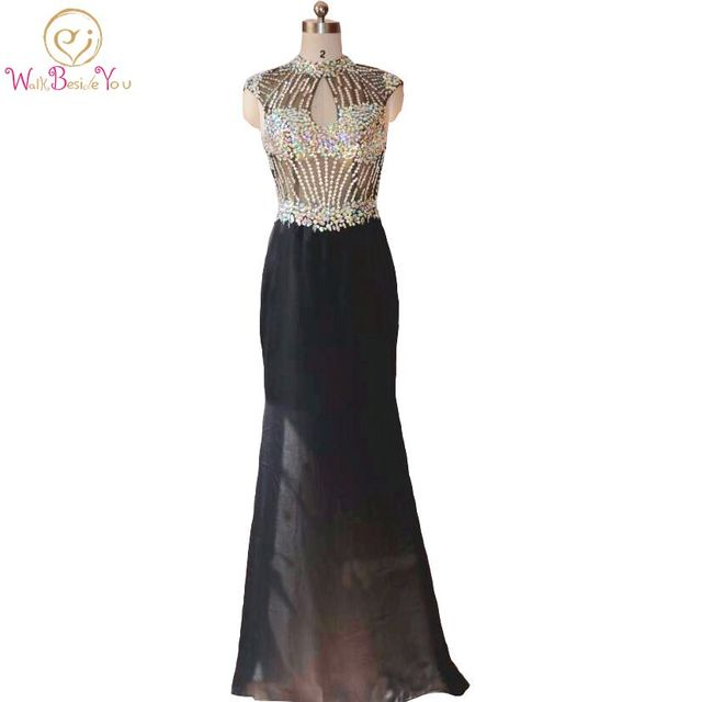 kleider lang elegant Evening Dresses Vestido Longo Preto Evening ...