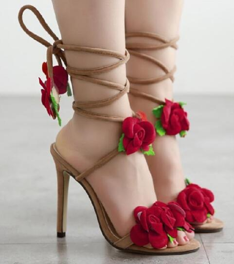 b2414c2de3b 2018 Newst Women Cross tied Amazing Flowers Wedding Party Sandal Sexy High  Heels Shoes-in Ankle Boots from Shoes on Aliexpress.com