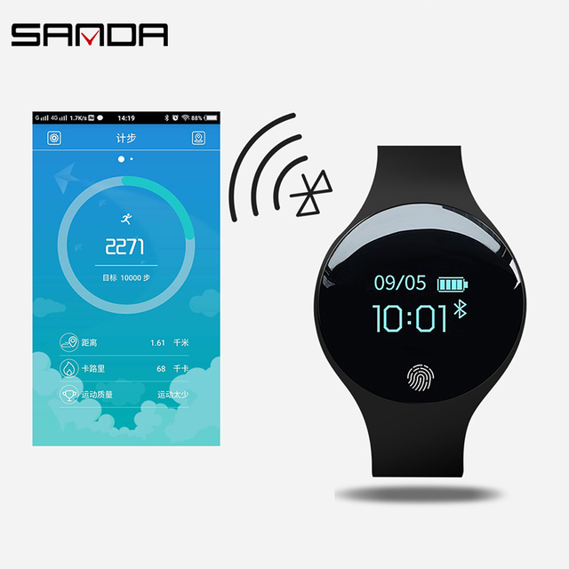 SANDA Waterproof Bluetooth Smart Watch Pedometer Call Reminder Silicone Smartwatch For IOS Android