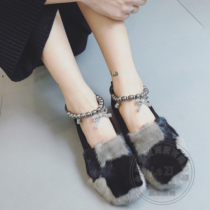 ФОТО Toeshoe Mink Hair Accessories Irregular Brand Anklet Shoes Women Ballet Flats Dark Grey Solid Color Frosted Soft Leather