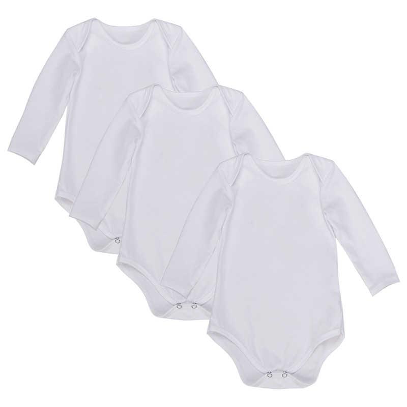 3 шт./лот Детские боди с длинными рукавами сплошной цвет черный и белый новорожденных унисекс для мальчиков и девочек лето младенческой комбинезон