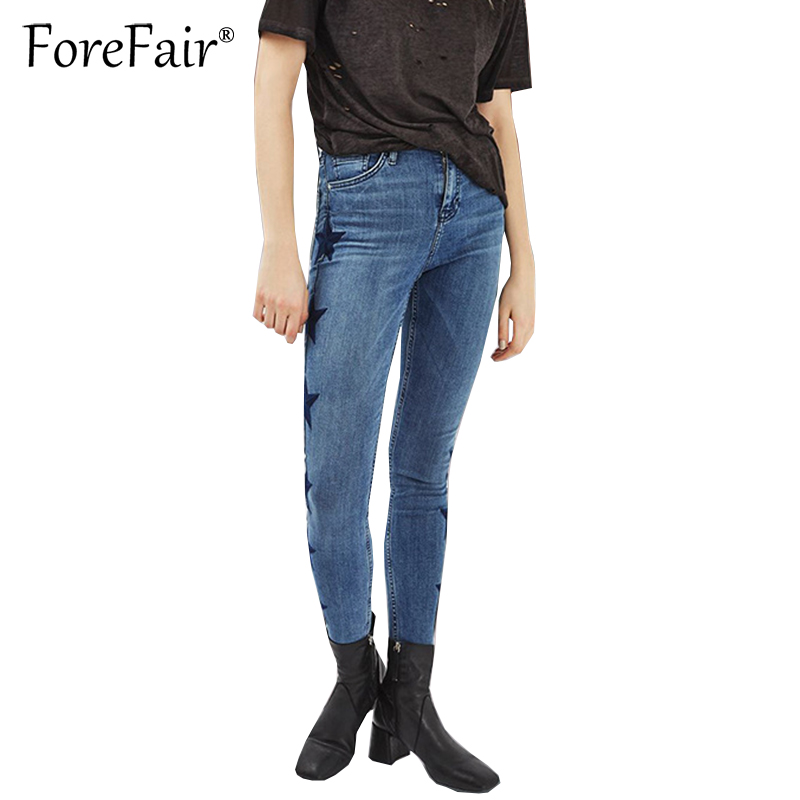Forefair Fashion Star Embroidered Jeans S-3XL Women Skinny Cool Denim Pencil Pants Blue Slim Elastic Vintage Jeans b slim women s ruched front shapewear jersey dress xl aqua blue