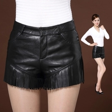 Autumn and Winter New Sheepskin Tassel Leather Shorts