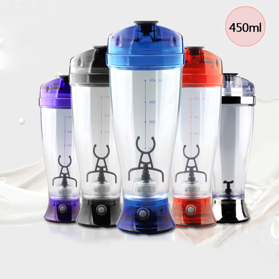 450ML Protable Electric Automatic Mixing Milk Coffee Mixer Mini Juice Manual Protein Shaker Blender Battery Plastic Food Mixer 5pcs cute long handle plastic coffee milky tea juice stirrer