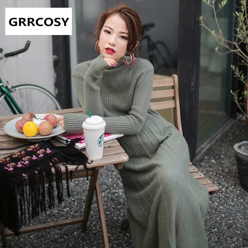 GRRCOSY Maternity Knit Dress Autumn Winter Pregnant Women Long Large Swing Skirt Pleated Skirt Sweater