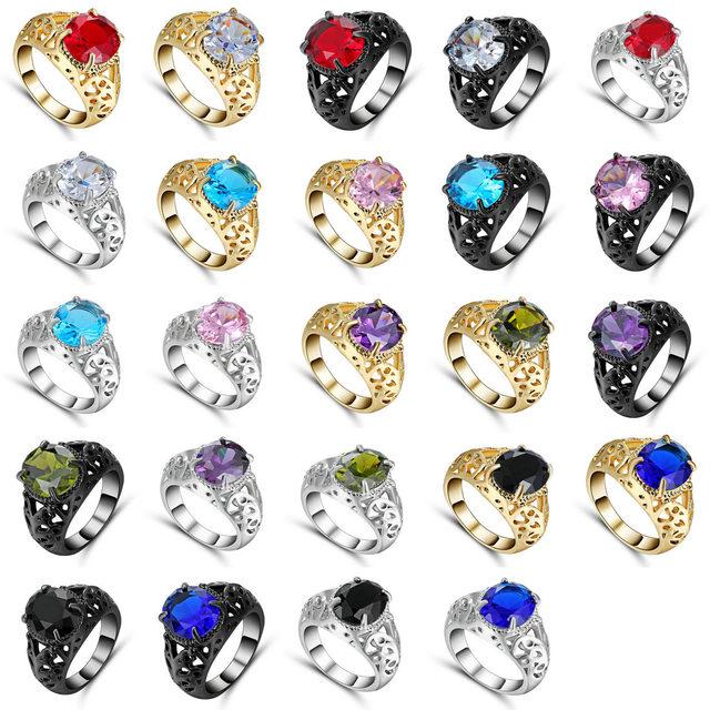 Grande Ovale di Cristallo Anello di Amore per il Regalo di Estate Luce Blu Royal
