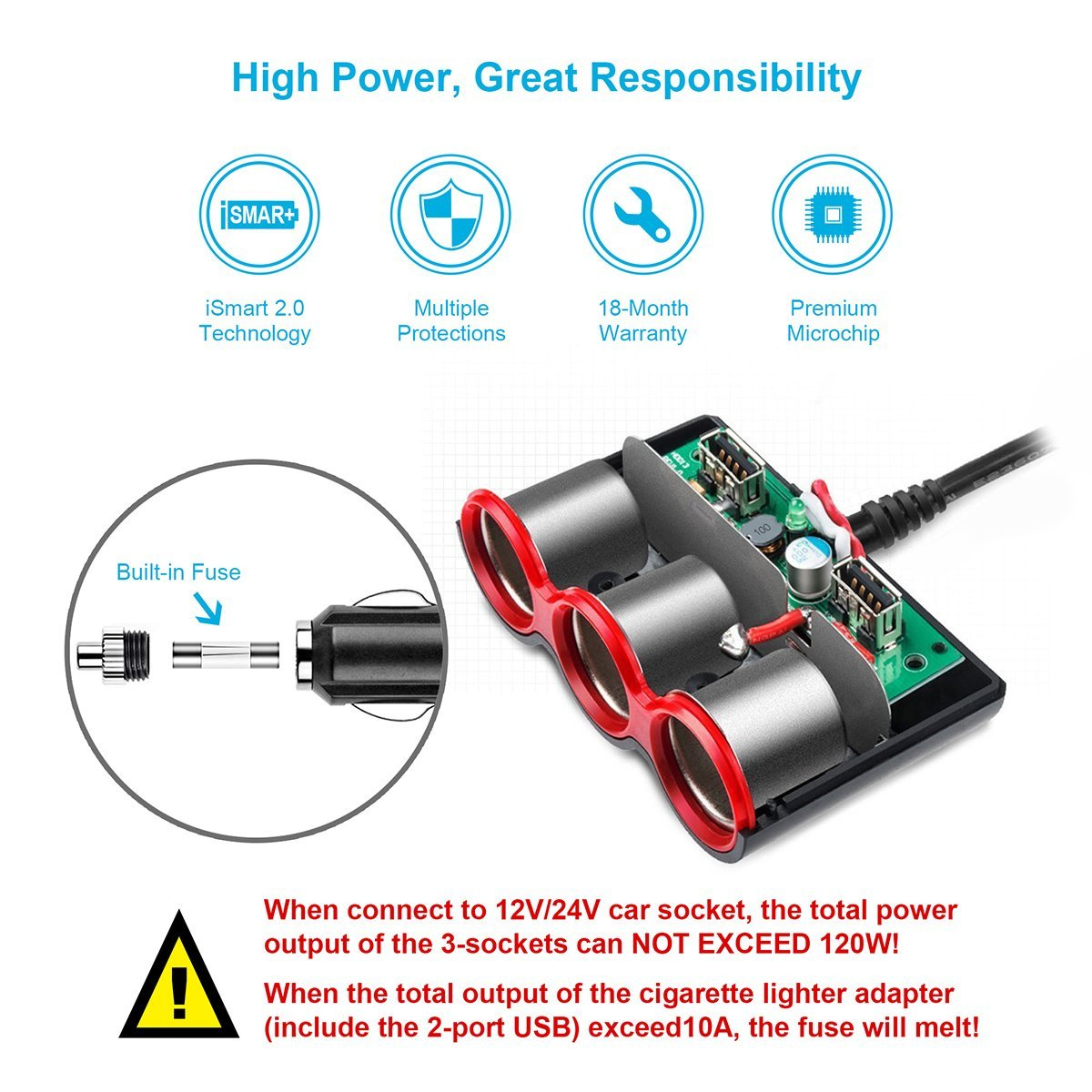 Usb Car Cigarette Lighter Splitter Adapter 120w 3 Socket 4a Dual Charger Outlet Multi Functions For Iphone Ipad Samsung In Chargers From