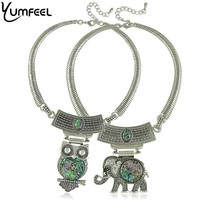 Vintage Shell Jewelry Retro Silver Planted Shell Owl Elephant Flower Choker Necklaces Pendants For Women 2015