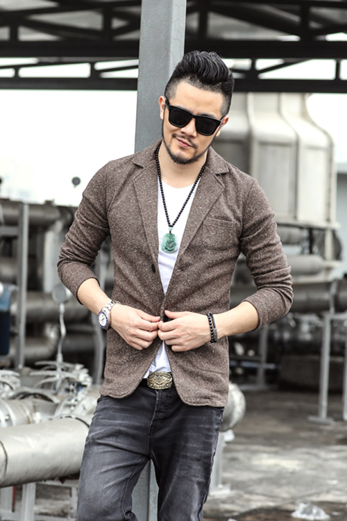 2017 Men Winter Casual Fashion Cotton Suits High Quality Solid Color Woolen British Style Long Sleeve Slim Fit New In Blazers From Mens