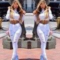 2017 La Venta Caliente Nuevas Mujeres de La Manera Negro Ocasional Mediados de Cintura Rasgó pantalones vaqueros Del Agujero de La Rodilla Flaco Pantalones Lápiz Denim Ripped Jeans Para Mujeres