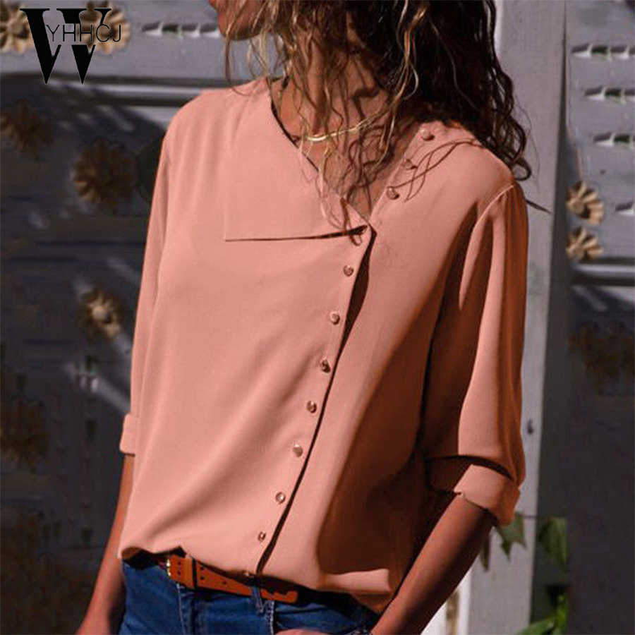 2019Chiffon Blouse  Fashion Long Sleeve Women Blouses and Tops Skew Collar Solid Office Shirt Casual Tops Blusas Chemise Femme