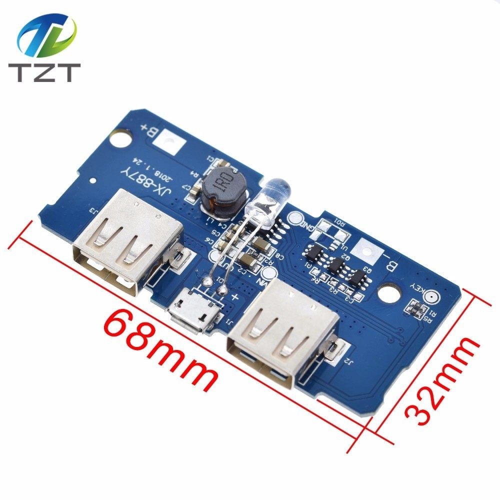 18650 5V 2A Power Bank Charger Module Charging Circuit Board Step Up Boost Power Supply Module 2A Dual USB Output 1A Input