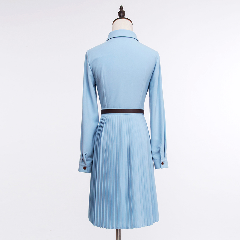 casual dame xxl mode 2018 fair kurzarm blau frauen neue dress Herbst kleider design outfit band elegant gre s blau plissee HE2W9IDY