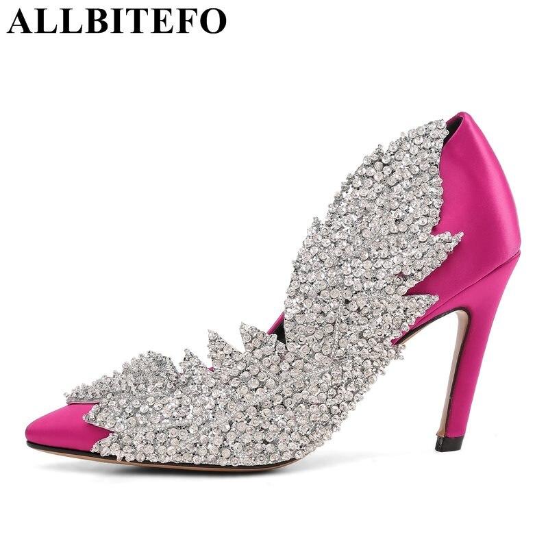 ALLBITEFO mode sexy high heels frauen hochzeit schuhe 2018 frühling high heel schuhe Strass frauen pumpt mädchen schuhe größe: 34-43