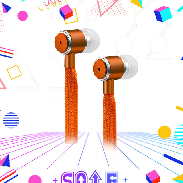 With Microphone for iPhone Xiaomi Samsung Sport HeadsetShoelaces Earphone Stereo Metal Bass Headphones Music Earpieces