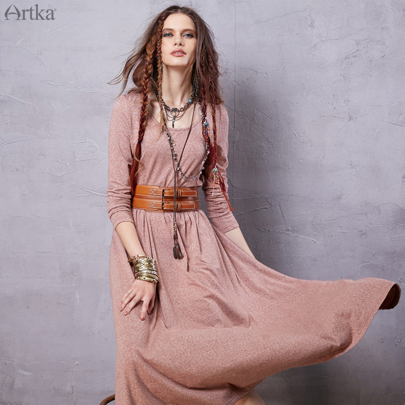 Artka Women s 2016 Spring New Bohemian Style Solid Color Comfy Dress O neck Long Sleeve