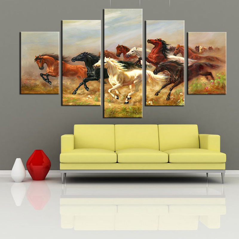 5 Panels Horses Wall Art Poster For Living Room Wall Modern Animals ...