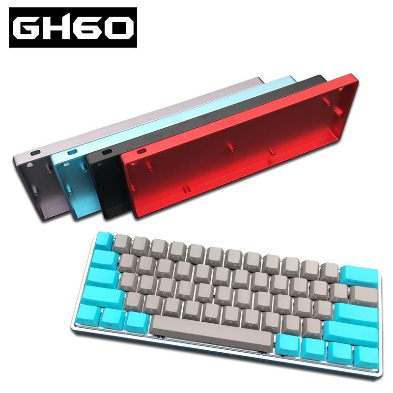 Case de Ouro Compacto Teclado Mecânico Anodizado Alluminum Case Faça Você Mesmo Poker2 Gaming Faceu Metal Quadro Gh60