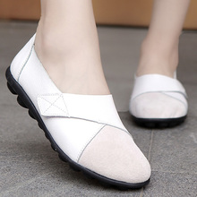 Wedges Flats Women Spring Shoes Pointed Toe Hook Loop Genuine Leather Boat Woman Size 44 scarpe donna